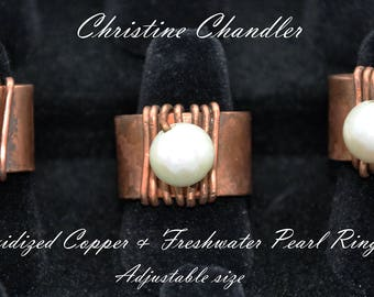 Oxidized Copper and Freshwater Pearl Ring - Adjustable Ring - Copper and Pearl Ring - Freshwater Pearl - Copper Ring - Christine Chandler