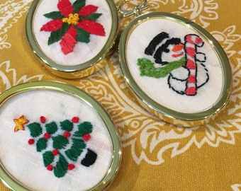 3 vintage christmas ornament crewel  embroidery with plastic frames snowman Christmas tree