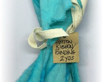 Hand Dyed Cotton Ribbon / Seam Binding 2 Yards Turquoise