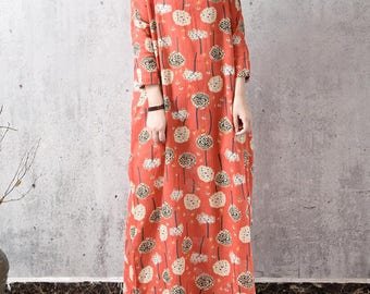 Loose large size Long maxi dress Women Robe gown