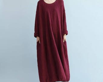 oversize Loose Maxi Dress/ Gray loose fitting dress/ fuchsia loose fitting dress/ Long sweater dress