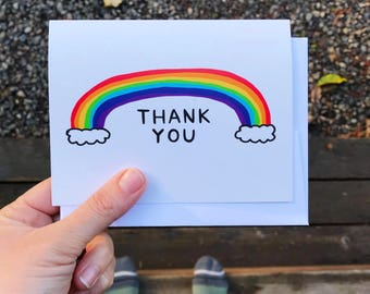 Greeting Card - Thank You - Rainbow - gift, thanks, illustration, one lane road