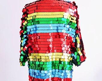 Rainbow multicoloured all over large sequin glitter shiny iridescent mermaid kimono trophy jacket cardigan burning man Coachella festival