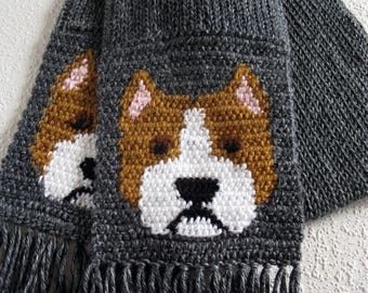 American Staffordshire terrier scarf. Charcoal gray knit and crochet scarf with pitbull dogs. Am staff bull terrier gift. Pit bull gift
