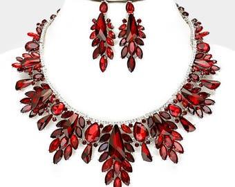 Wedding jewelry set, Wedding necklace earrings, bridal jewelry set, Bridal necklace earrings, chunky fashion Siam red crystal jewelry set