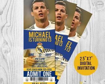 Cristiano Ronaldo Real Madrid Printable Birthday Invitation
