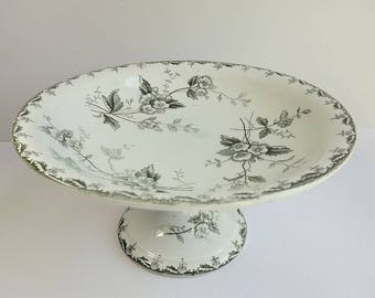 French vintage footed bowl by St Amand & Hamage for Nouvelles Galeries, in green and white