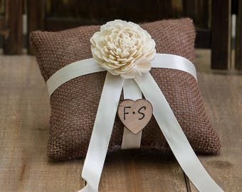 Ivory Sola Flower Ring Bearer Pillow, You pick flower and ribbon color