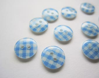 20 small pale baby blue and white gingham round plastic buttons - 11mm