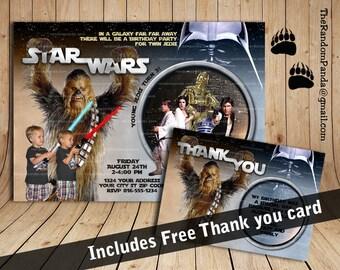 Personalize Star Wars Twins Invitation, Chewbacca Party, Star Wars Birthday Invite