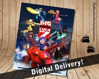 Personalize kids poster, Big Hero 6 wall art, Baymax Poster