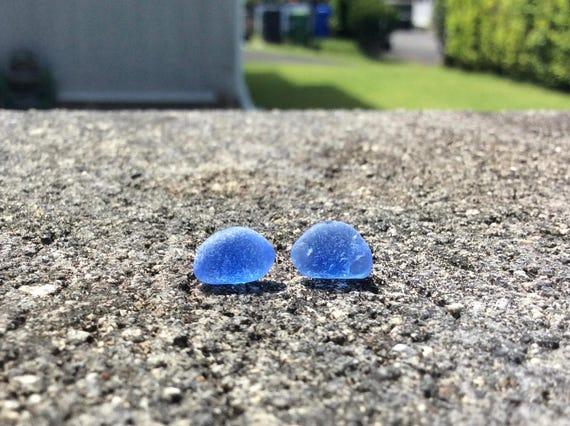 Rare Surf Tumbled Cornflower Blue Seaglass Stud Earrings