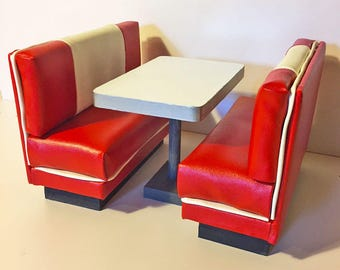 Barbie furnture red bench and table for 1:6 scale Coca-Cola/soda shop/Diner/Cafe/kitchen/Diorama in (Blythe, action figures,monster high)