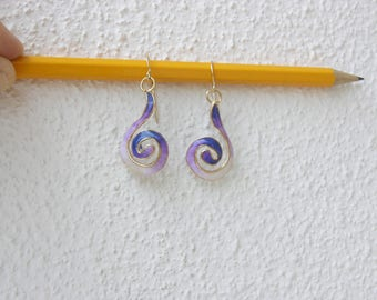 Purple spiral earrings, Swirl earrings, Twisted wire jewelry, Unique jewelry women, Polymer clay earrings, Unique gifts for women, Gift mom.