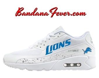 Custom Lions Nike Air Max 90 Shoes Ultra White, FREE SHIPPING, #lions,