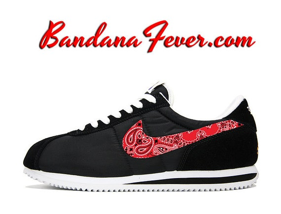 best service 36b59 bcb81 Custom Red Bandana Nike Cortez Nylon BlackWhite FREE ...