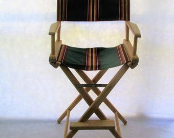 Tall Director's Chair Telescope New Canvas Folding Wood
