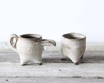 Unique Handmade Pottery Footed Sugar Jar & Creamer
