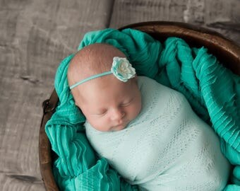 Organic Paper Flower Headband on soft stretch skinny elastic, newborn photo prop, bebe foto, Lil Miss Sweet Pea Boutique