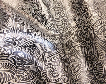 "Leather 8""x10"" Western Tool Floral leaf BLACK and SILVER Metallic Cowhide 2.5-2.75 oz/1-1.1 mm PeggySueAlso™ E2838-10"