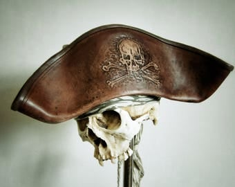 Brown Leather Pirate Tricorn Hat with Skull n Bones
