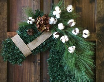 Horse Head Wreath/Horse Cotton Boll Wreath/Everyday Wreath