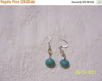 20% OFF VALENTINES SALE Turquoise Color Magnesite and crystal dangle earrings.