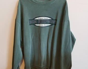 BUM Equipment B.U.M. Pullover Sweatshirt Crewneck Womens XL Cotton Forest Green 90s