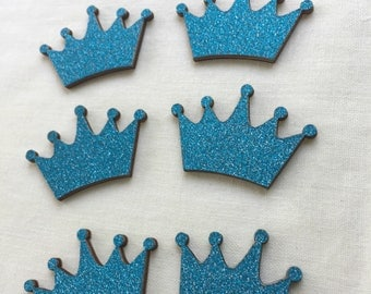 "Wooden Turquoise Glitter Crown for Baby Shower, Party Favors, Cup Cake Topper, Prince Party, Embellishment, 1.5"" W x 7/8"" H, 10 pieces"