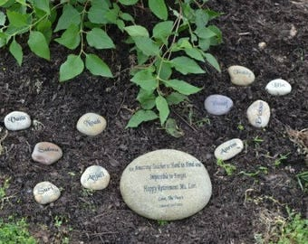 Engraved teacher's real stone, etched stone, namesake stone, family stone,engraved river rocks, garden stones, etched rock, etched