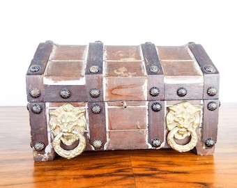 Vintage Miniature Wooden Gothic Treasure Chest Jewelry Box, Unique Pirates Candy Money Safe, Pet Memorial Ashes Holder Urn