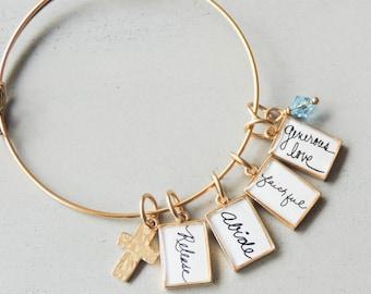 Custom Signature Bracelet, Handwriting Jewelry, Actual Handwriting, Personalized Handwriting Bracelet, Handwritten Word Bangle, Gift For Her