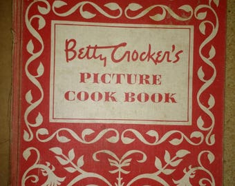 Vintage 1950 First Edition First Printing Betty Crocker Picture Cookbook Great Mid Century Retro Red Kitchen Decor