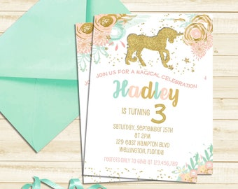Gold Glitter Unicorn Party Invitation, Magical Unicorn First Birthday Invitation