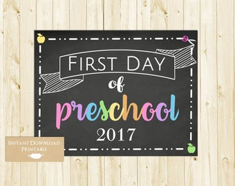 First Day of School Sign, Back to School Chalkboard Sign, 1st Day of School Sign, Preschool, INSTANT DOWNLOAD