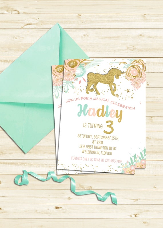 Gold Glitter Unicorn Party Invitation, Magical Unicorn First Birthday Invitation
