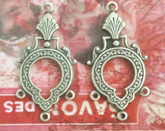 TWO pairs of Gothic earring dangles with three hoops, Brass ox, Brass Stampings, Jewelry Supplies