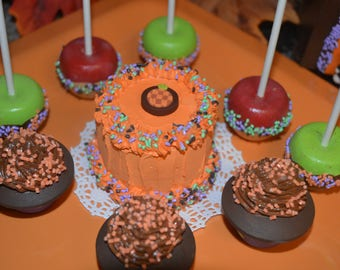 """Halloween Cake Play Food 18"""" AG or Bitty Doll Bakery Style Halloween Party Treat"""