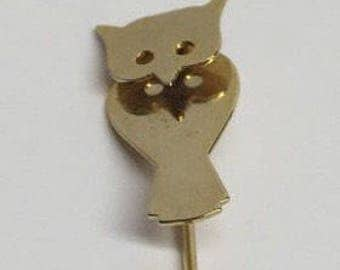 Owl Goldtone Stickpin Hat Pin