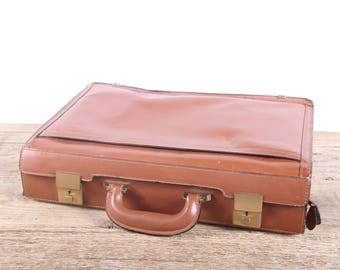 Vintage Leather Briefcase / Breif Bag / Leather Briefcase / Antique Brown Leather Suitcase Luggage / Old Suitcase / Vintage Luggage Bag