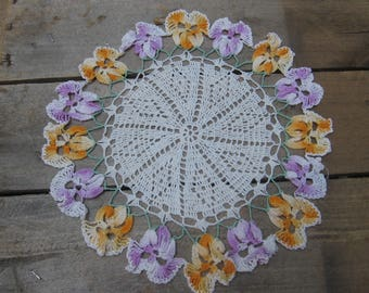 """Purple Yellow Pansy Doily / Crochet Doily / Vanity Scarf / Bedroom Doily / Cottage Chic / Yellow Purple Green White / 9 1/2"""" Round Doily"""