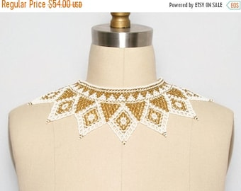 SALE Beaded Collar. Bib Necklace. Statement Necklace. Beaded Jewelry. Collar Necklace. Festival Jewelry. Gold and White. Choker. Holiday Nec