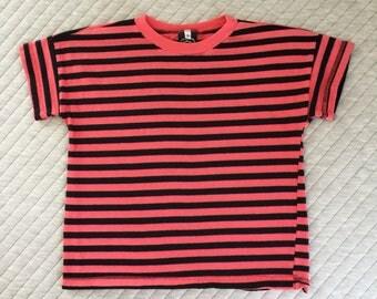 Vintage 80's Cotton Kids Coral Stripe T-Shirt Sz 6
