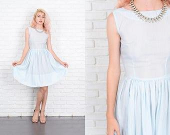 Vintage 60s Blue Mod Dress A Line Full Sheer Sleeveless XXS Mini 9986