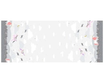 Metallic Cloud Magic Meadow Unicorn Double Border Print from Michael Miller Fabric's Believe Collection by Sandra Clemons