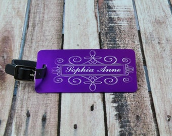 Personalized Luggage Tag, Bridesmaid Gift, Engraved Luggage Tag with Leather Strap