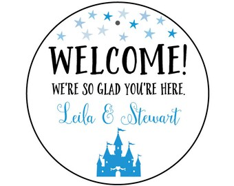 Wedding Welcome Bag Tags with Castle and Stars