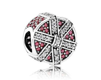 PANDORA Red Shimmering Gift 792006CZR Charm