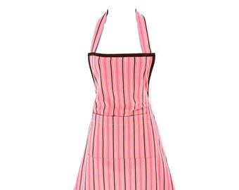 CLEARANCE - Pink and Brown Striped Chef's Apron
