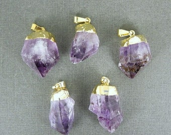 10% off Labor Day Amethyst Point Pendant - Raw Amethyst with gold electroplated cap BeautfuL  WHOLESALE (S122B3)